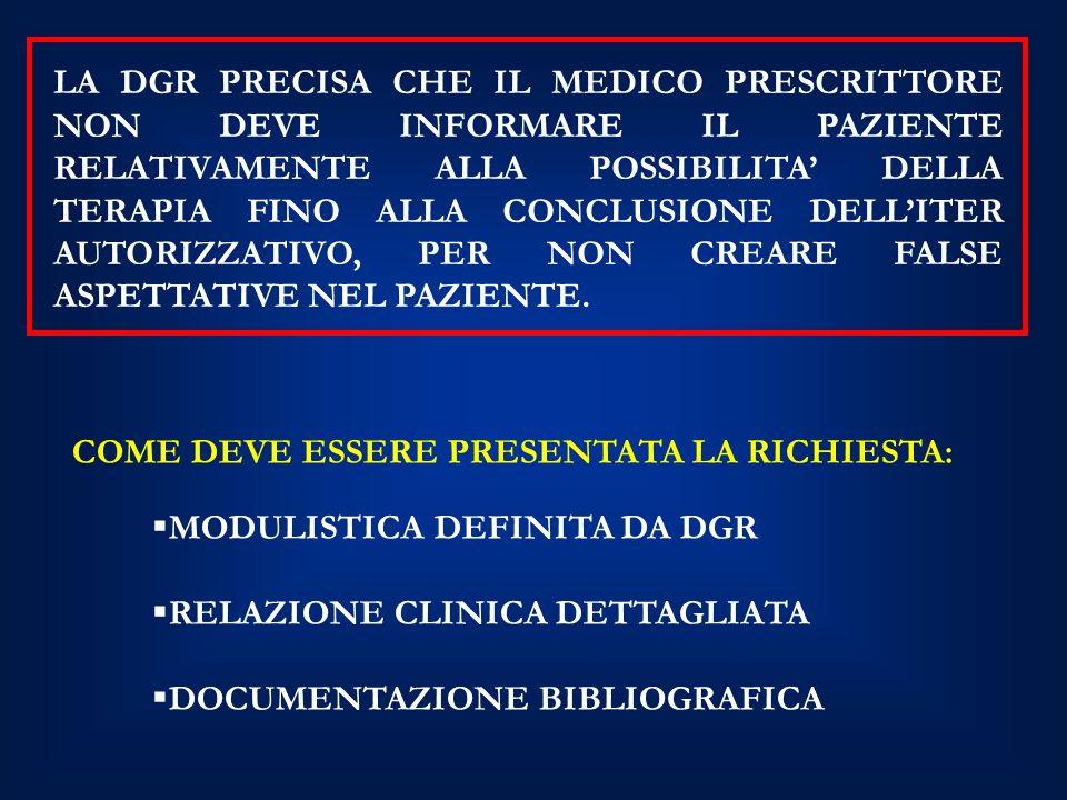 MODULISTICA DEFINITA DA DGR RELAZIONE CLINICA DETTAGLIATA DOCUMENTAZIONE BIBLIOGRAFICA COME DEVE ESSERE PRESENTATA LA RICHIESTA: LA DGR PRECISA CHE IL MEDICO PRESCRITTORE NON DEVE INFORMARE IL PAZIENTE RELATIVAMENTE ALLA POSSIBILITA DELLA TERAPIA FINO ALLA CONCLUSIONE DELLITER AUTORIZZATIVO, PER NON CREARE FALSE ASPETTATIVE NEL PAZIENTE.