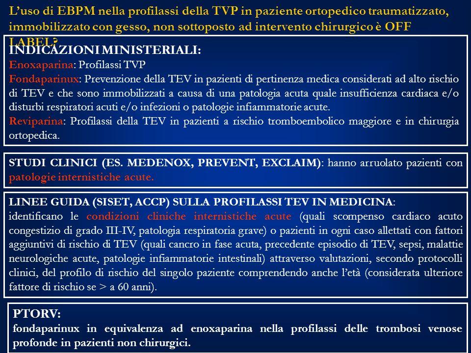 Luso di EBPM nella profilassi della TVP in paziente ortopedico traumatizzato, immobilizzato con gesso, non sottoposto ad intervento chirurgico è OFF LABEL.