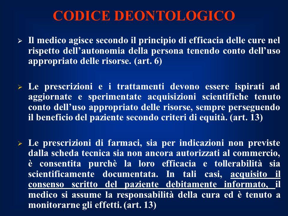 CODICE DEONTOLOGICO Il medico agisce secondo il principio di efficacia delle cure nel rispetto dellautonomia della persona tenendo conto delluso appropriato delle risorse.