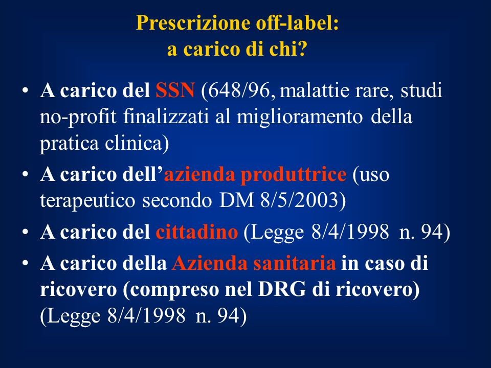 Prescrizione off-label: a carico di chi.
