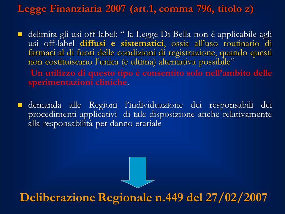 Deliberazione Regionale n.449 del 27/02/2007 Legge Finanziaria 2007 (art.1, comma 796, titolo z) delimita gli usi off-label: la Legge Di Bella non è applicabile agli usi off-label diffusi e sistematici, ossia alluso routinario di farmaci al di fuori delle condizioni di registrazione, quando questi non costituiscano lunica (e ultima) alternativa possibile delimita gli usi off-label: la Legge Di Bella non è applicabile agli usi off-label diffusi e sistematici, ossia alluso routinario di farmaci al di fuori delle condizioni di registrazione, quando questi non costituiscano lunica (e ultima) alternativa possibile.