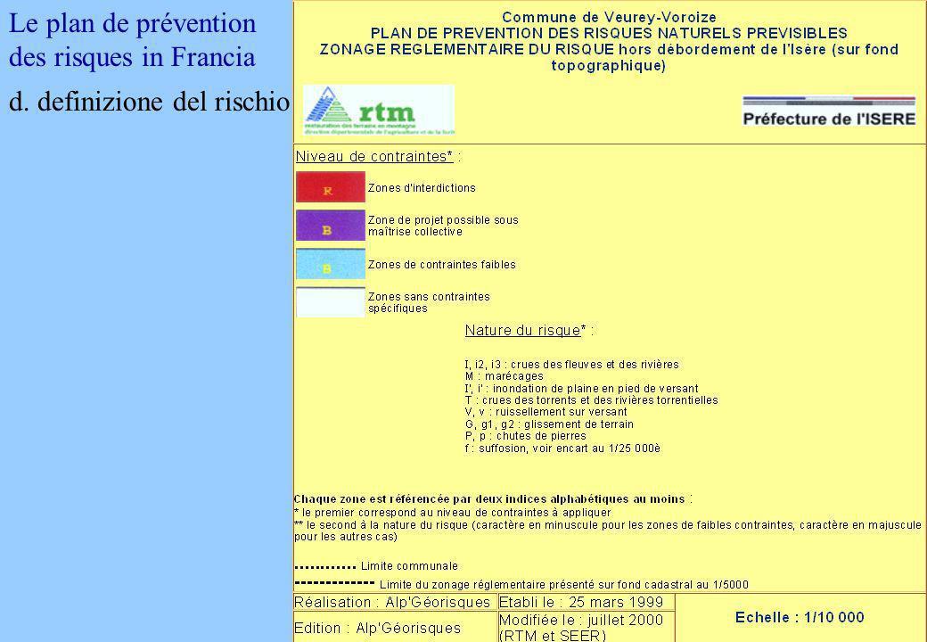 Le plan de prévention des risques in Francia d. definizione del rischio