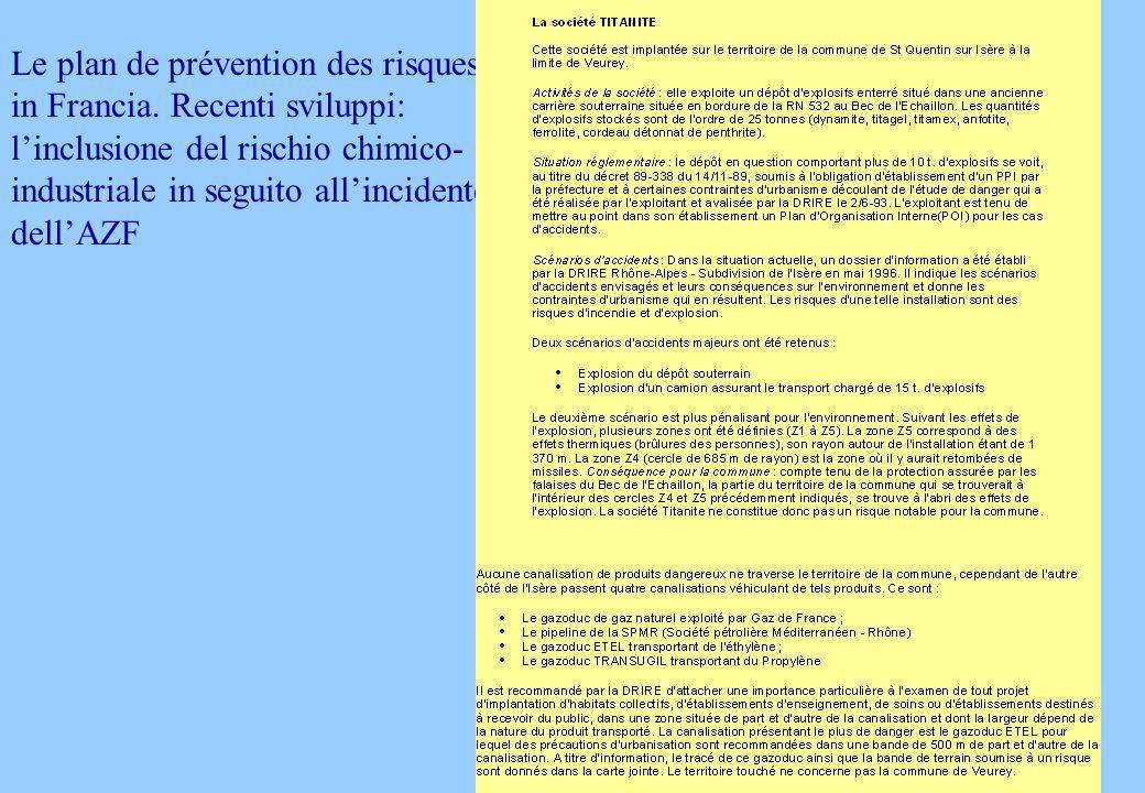 Le plan de prévention des risques in Francia.
