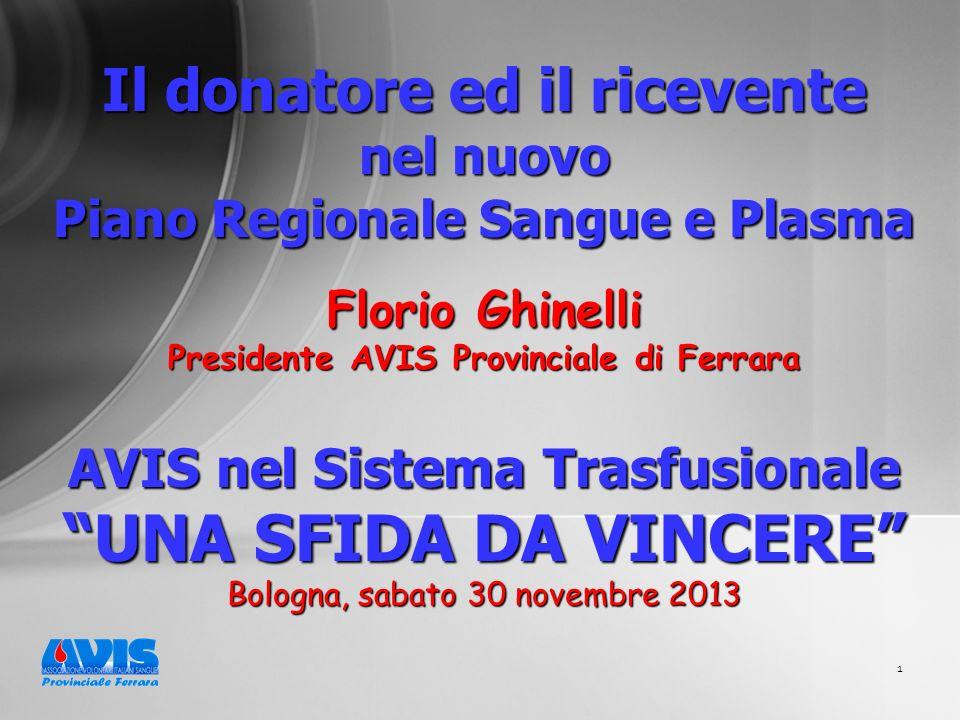 1 Il donatore ed il ricevente nel nuovo Piano Regionale Sangue e Plasma Florio Ghinelli Presidente AVIS Provinciale di Ferrara AVIS nel Sistema Trasfusionale UNA SFIDA DA VINCERE Bologna, sabato 30 novembre 2013