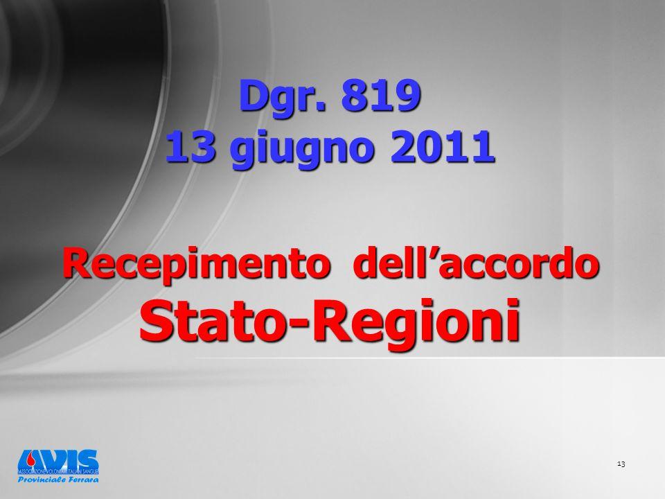 13 Dgr. 819 13 giugno 2011 Recepimento dellaccordo Stato-Regioni