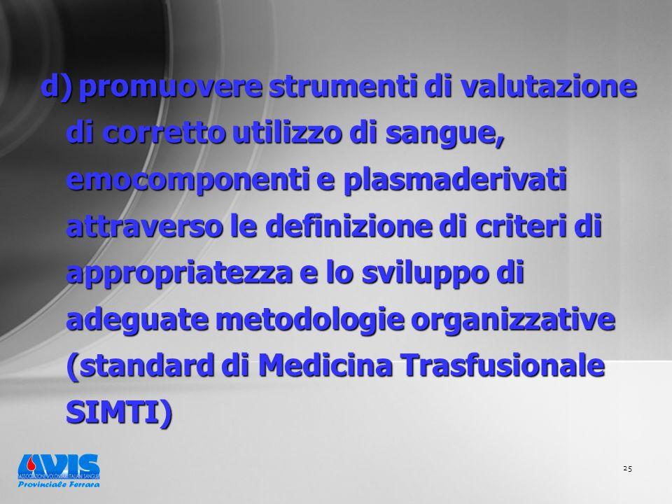 25 d) promuovere strumenti di valutazione di corretto utilizzo di sangue, emocomponenti e plasmaderivati attraverso le definizione di criteri di appropriatezza e lo sviluppo di adeguate metodologie organizzative (standard di Medicina Trasfusionale SIMTI)