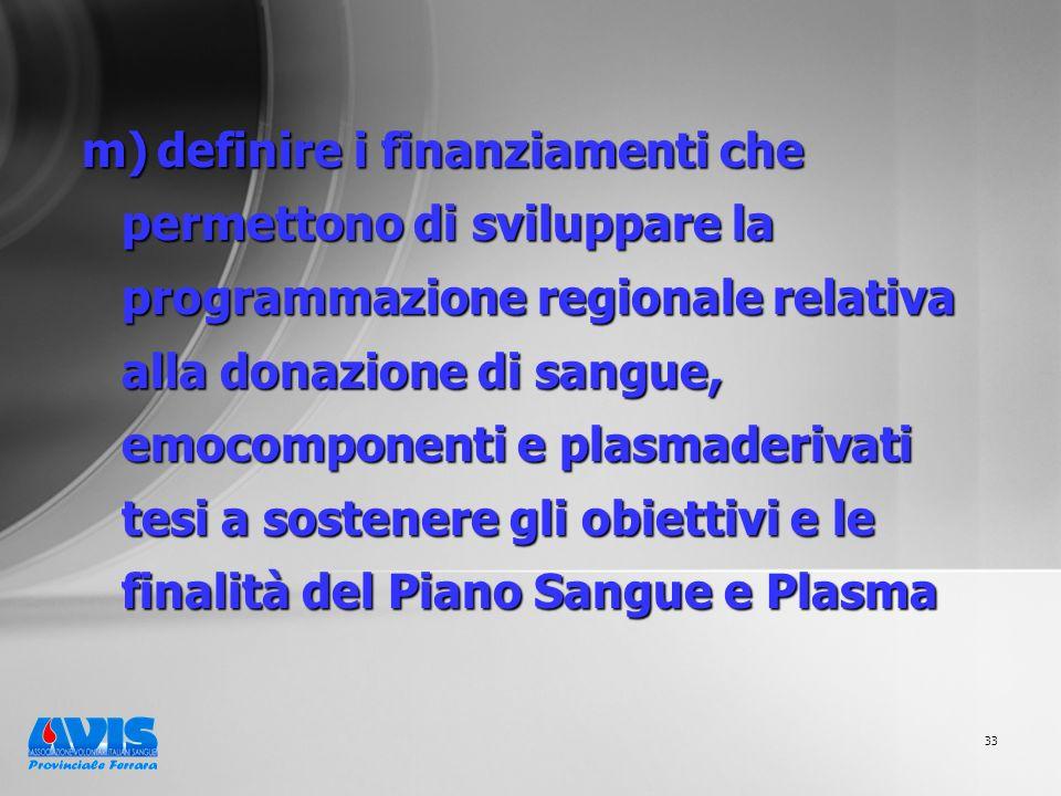 33 m) definire i finanziamenti che permettono di sviluppare la programmazione regionale relativa alla donazione di sangue, emocomponenti e plasmaderivati tesi a sostenere gli obiettivi e le finalità del Piano Sangue e Plasma