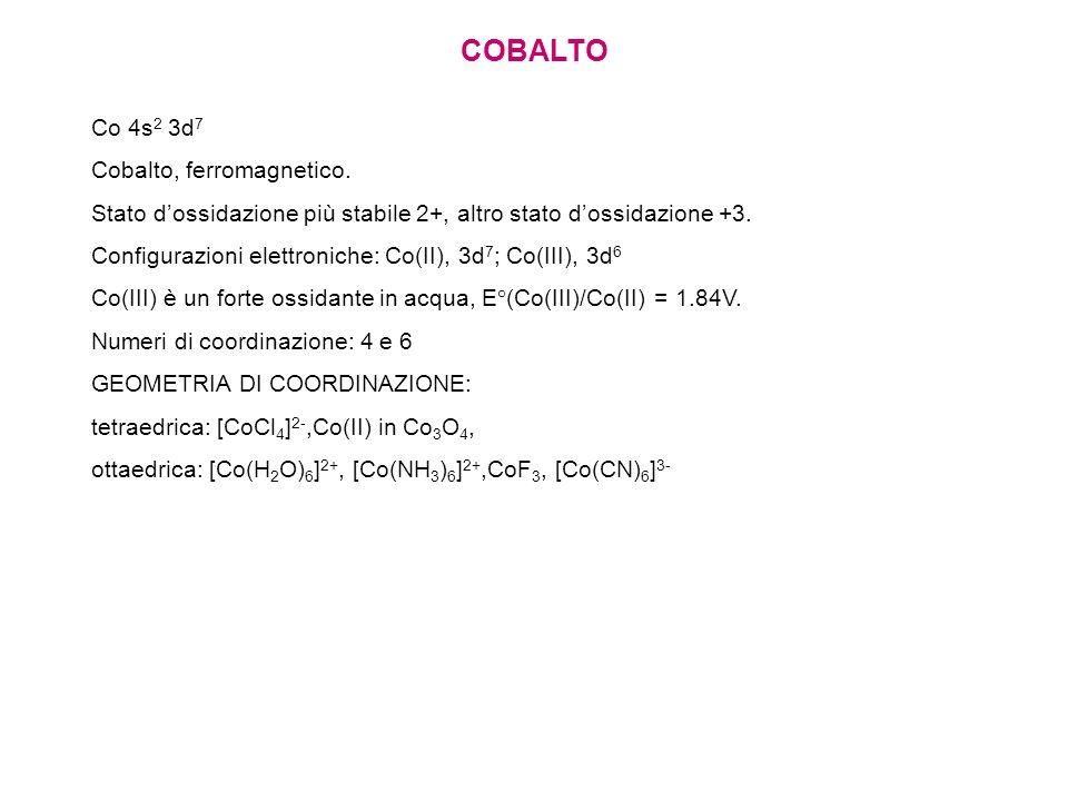 COBALTO Co 4s 2 3d 7 Cobalto, ferromagnetico. Stato dossidazione più stabile 2+, altro stato dossidazione +3. Configurazioni elettroniche: Co(II), 3d