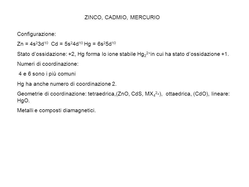 ZINCO, CADMIO, MERCURIO Configurazione: Zn = 4s 2 3d 10 Cd = 5s 2 4d 10 Hg = 6s 2 5d 10 Stato dossidazione: +2, Hg forma lo ione stabile Hg 2 2+ in cu