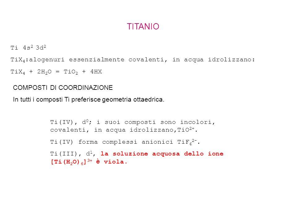 TITANIO Ti 4s 2 3d 2 TiX 4 :alogenuri essenzialmente covalenti, in acqua idrolizzano: TiX 4 + 2H 2 O = TiO 2 + 4HX COMPOSTI DI COORDINAZIONE In tutti