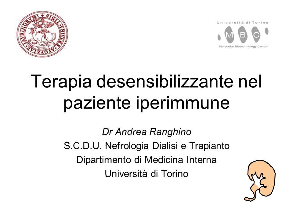 Terapia desensibilizzante nel paziente iperimmune Dr Andrea Ranghino S.C.D.U.