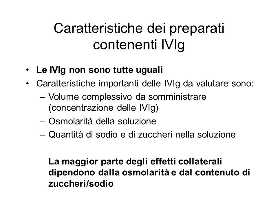 Le IVIg non sono tutte uguali Caratteristiche importanti delle IVIg da valutare sono: –Volume complessivo da somministrare (concentrazione delle IVIg) –Osmolarità della soluzione –Quantità di sodio e di zuccheri nella soluzione La maggior parte degli effetti collaterali dipendono dalla osmolarità e dal contenuto di zuccheri/sodio Caratteristiche dei preparati contenenti IVIg
