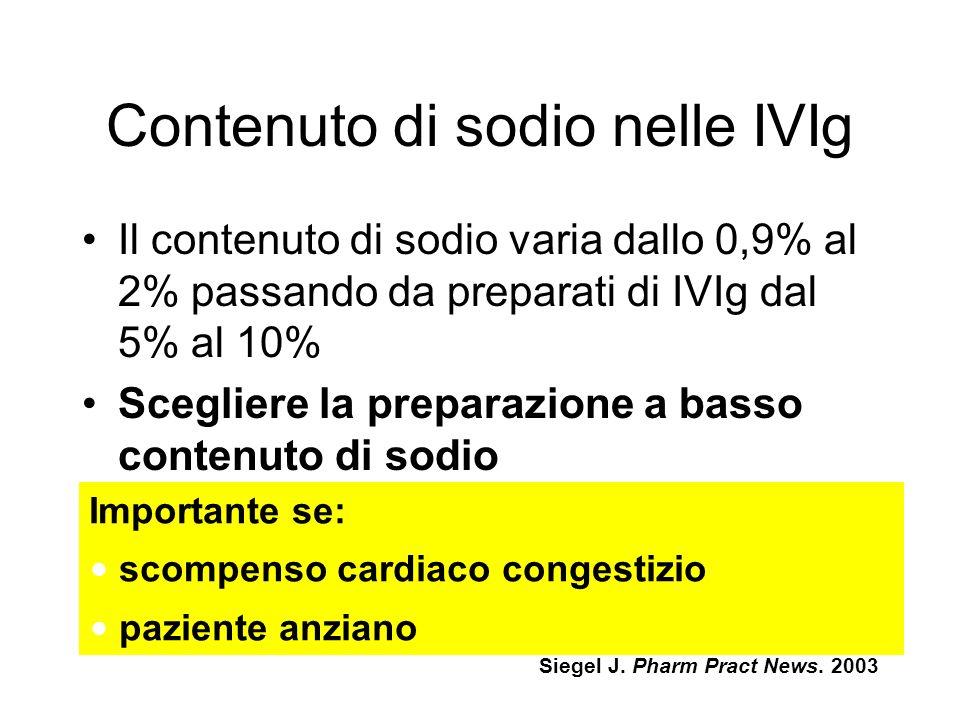 Contenuto di sodio nelle IVIg Il contenuto di sodio varia dallo 0,9% al 2% passando da preparati di IVIg dal 5% al 10% Scegliere la preparazione a basso contenuto di sodio Importante se: scompenso cardiaco congestizio paziente anziano Siegel J.