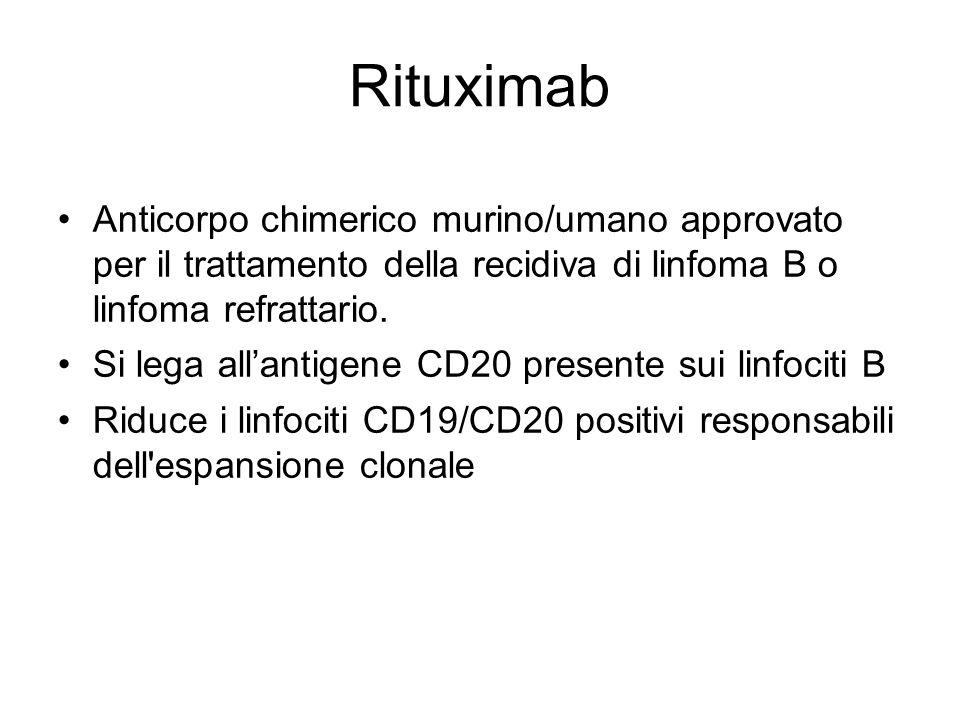 Rituximab Anticorpo chimerico murino/umano approvato per il trattamento della recidiva di linfoma B o linfoma refrattario.