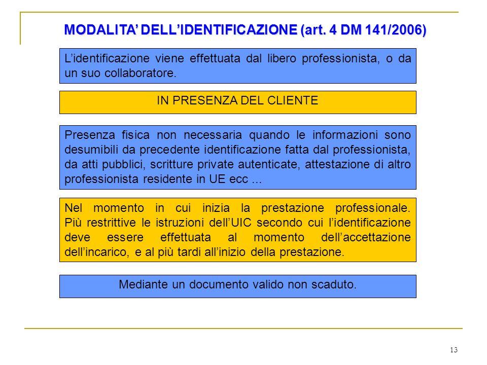 13 MODALITA DELLIDENTIFICAZIONE (art. 4 DM 141/2006) Lidentificazione viene effettuata dal libero professionista, o da un suo collaboratore. IN PRESEN