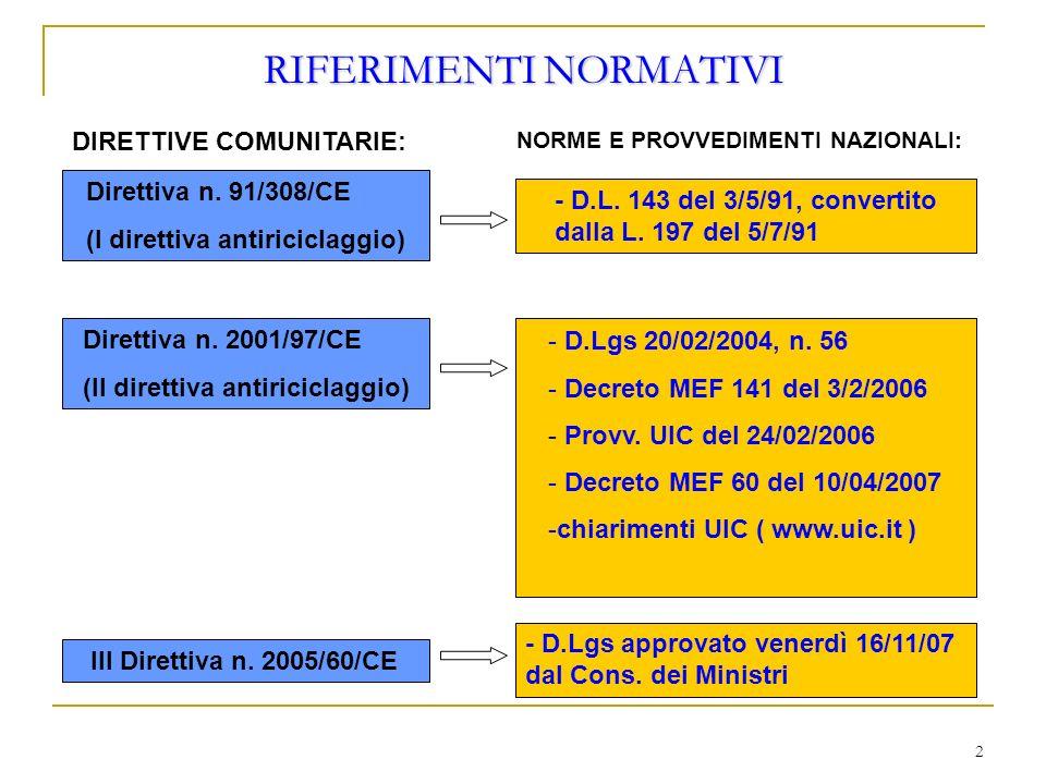 2 RIFERIMENTI NORMATIVI DIRETTIVE COMUNITARIE: Direttiva n. 91/308/CE (I direttiva antiriciclaggio) Direttiva n. 2001/97/CE (II direttiva antiriciclag