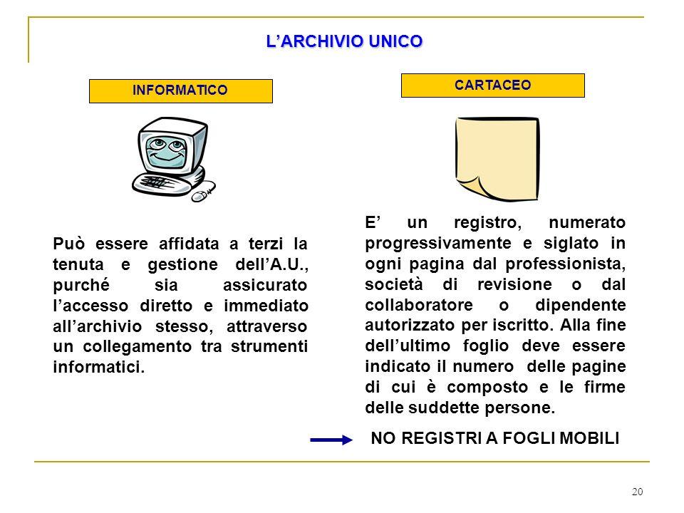 20 LARCHIVIO UNICO INFORMATICO CARTACEO Può essere affidata a terzi la tenuta e gestione dellA.U., purché sia assicurato laccesso diretto e immediato