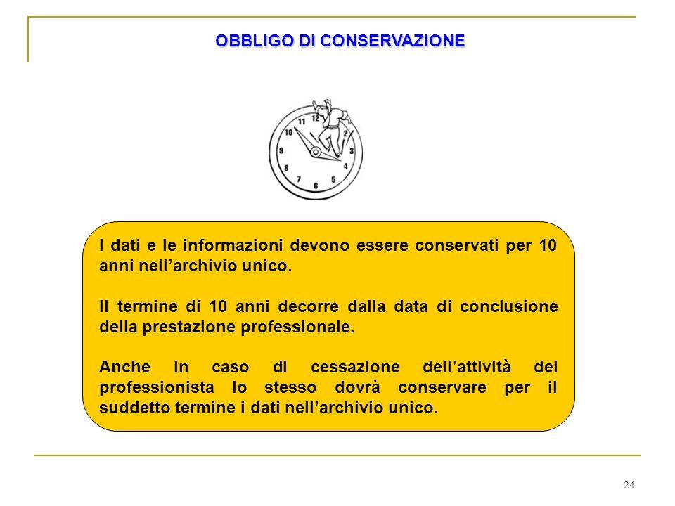 24 I dati e le informazioni devono essere conservati per 10 anni nellarchivio unico. Il termine di 10 anni decorre dalla data di conclusione della pre