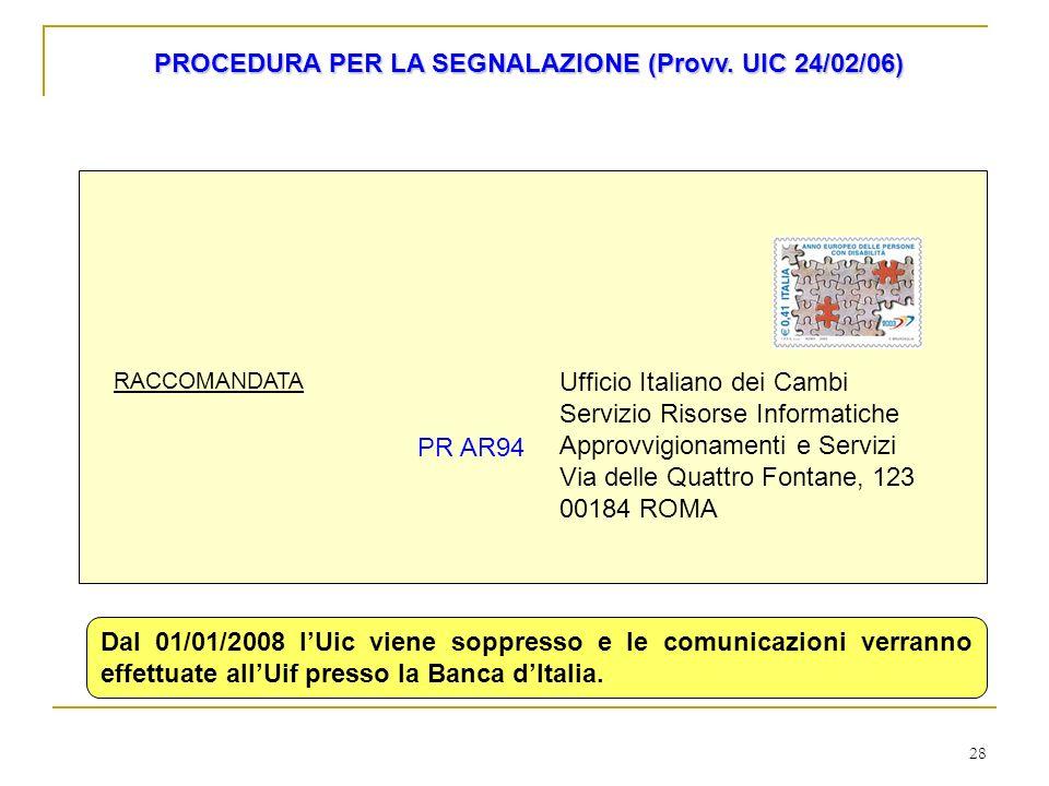 28 Ufficio Italiano dei Cambi Servizio Risorse Informatiche Approvvigionamenti e Servizi Via delle Quattro Fontane, 123 00184 ROMA PR AR94 RACCOMANDAT