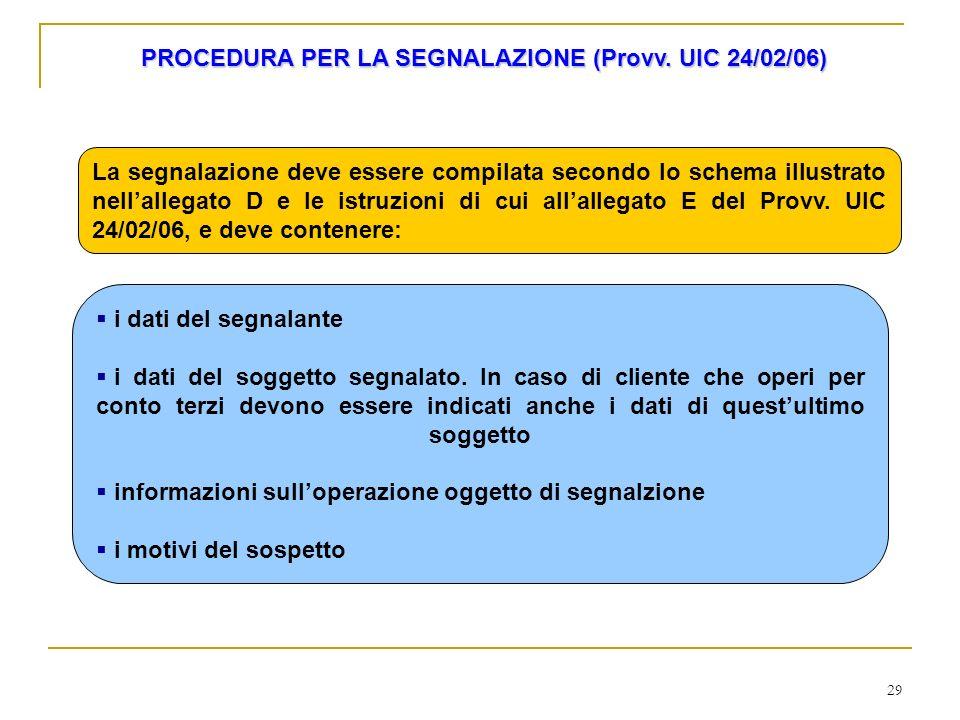 29 PROCEDURA PER LA SEGNALAZIONE (Provv. UIC 24/02/06) La segnalazione deve essere compilata secondo lo schema illustrato nellallegato D e le istruzio