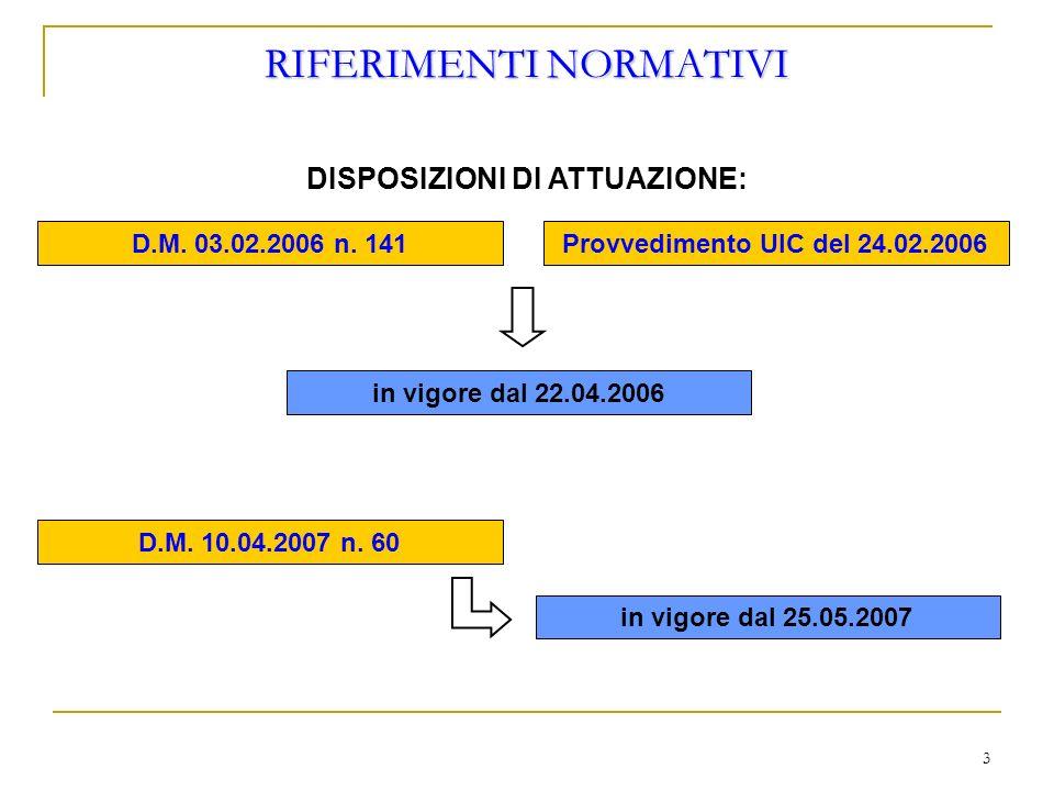 3 RIFERIMENTI NORMATIVI DISPOSIZIONI DI ATTUAZIONE: D.M. 03.02.2006 n. 141Provvedimento UIC del 24.02.2006 D.M. 10.04.2007 n. 60 in vigore dal 22.04.2