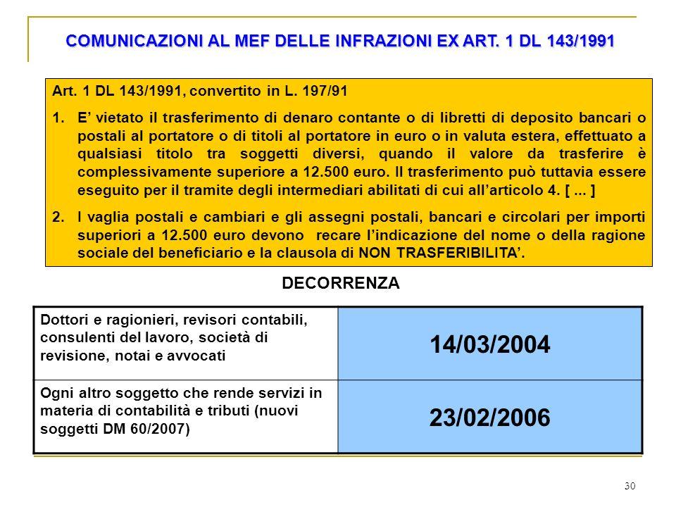 30 COMUNICAZIONI AL MEF DELLE INFRAZIONI EX ART. 1 DL 143/1991 Art. 1 DL 143/1991, convertito in L. 197/91 1.E vietato il trasferimento di denaro cont