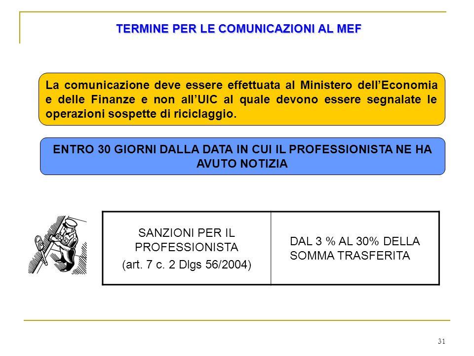 31 TERMINE PER LE COMUNICAZIONI AL MEF La comunicazione deve essere effettuata al Ministero dellEconomia e delle Finanze e non allUIC al quale devono