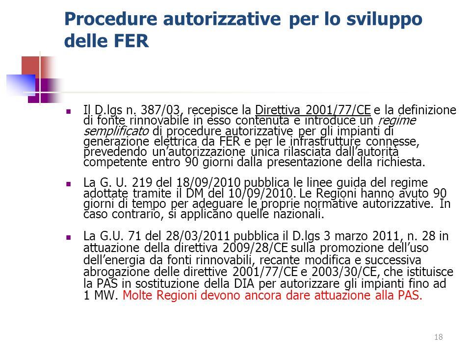 Procedure autorizzative per lo sviluppo delle FER Il D.lgs n. 387/03, recepisce la Direttiva 2001/77/CE e la definizione di fonte rinnovabile in esso