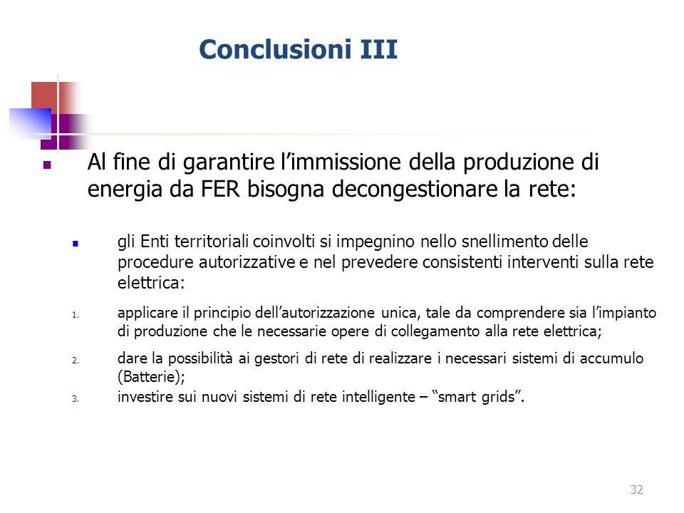 Conclusioni III Al fine di garantire limmissione della produzione di energia da FER bisogna decongestionare la rete: gli Enti territoriali coinvolti s