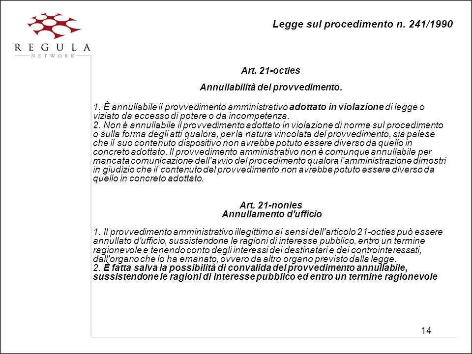 14 Legge sul procedimento n. 241/1990 Art. 21-octies Annullabilità del provvedimento.