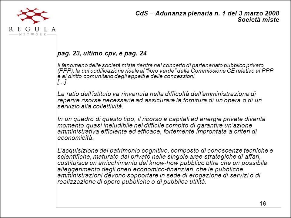 16 CdS – Adunanza plenaria n. 1 del 3 marzo 2008 Società miste pag.