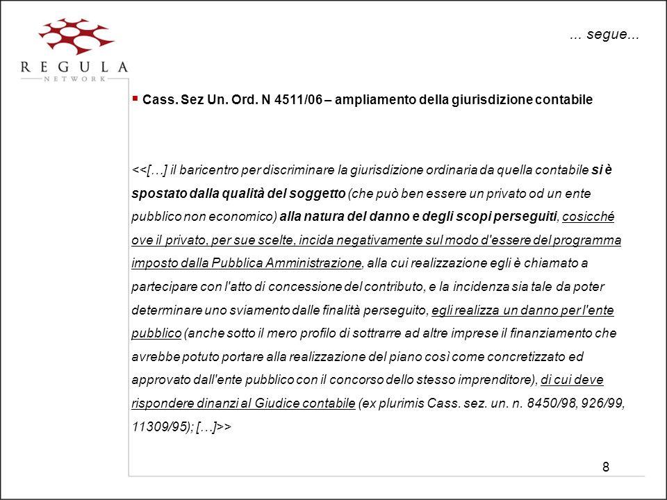 8... segue... Cass. Sez Un. Ord. N 4511/06 – ampliamento della giurisdizione contabile >
