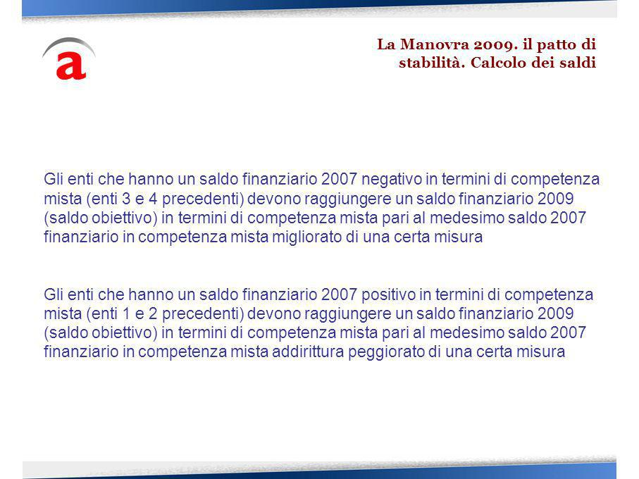 Gli enti che hanno un saldo finanziario 2007 negativo in termini di competenza mista (enti 3 e 4 precedenti) devono raggiungere un saldo finanziario 2009 (saldo obiettivo) in termini di competenza mista pari al medesimo saldo 2007 finanziario in competenza mista migliorato di una certa misura Gli enti che hanno un saldo finanziario 2007 positivo in termini di competenza mista (enti 1 e 2 precedenti) devono raggiungere un saldo finanziario 2009 (saldo obiettivo) in termini di competenza mista pari al medesimo saldo 2007 finanziario in competenza mista addirittura peggiorato di una certa misura La Manovra 2009.