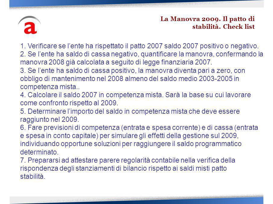 La Manovra 2009. Il patto di stabilità. Check list 1. Verificare se lente ha rispettato il patto 2007 saldo 2007 positivo o negativo. 2. Se lente ha s