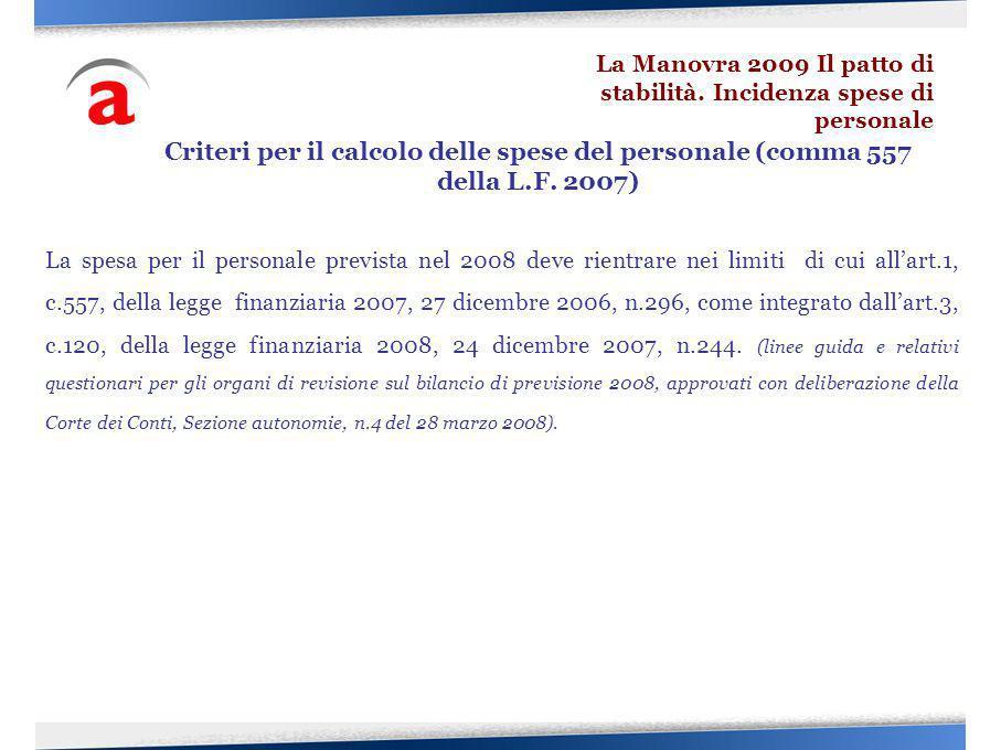 La spesa per il personale prevista nel 2008 deve rientrare nei limiti di cui allart.1, c.557, della legge finanziaria 2007, 27 dicembre 2006, n.296, c