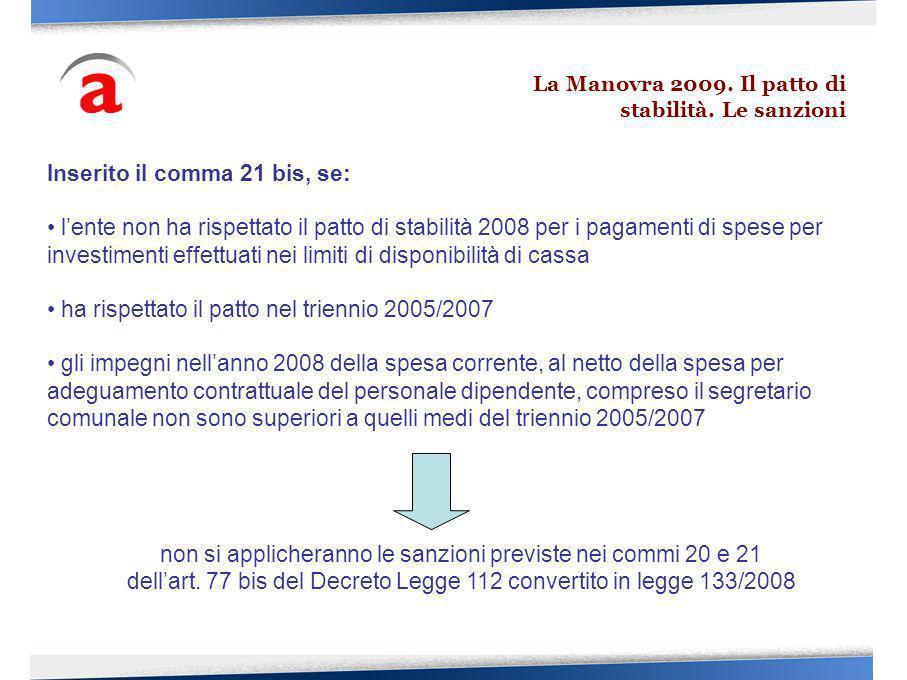 Inserito il comma 21 bis, se: lente non ha rispettato il patto di stabilità 2008 per i pagamenti di spese per investimenti effettuati nei limiti di di