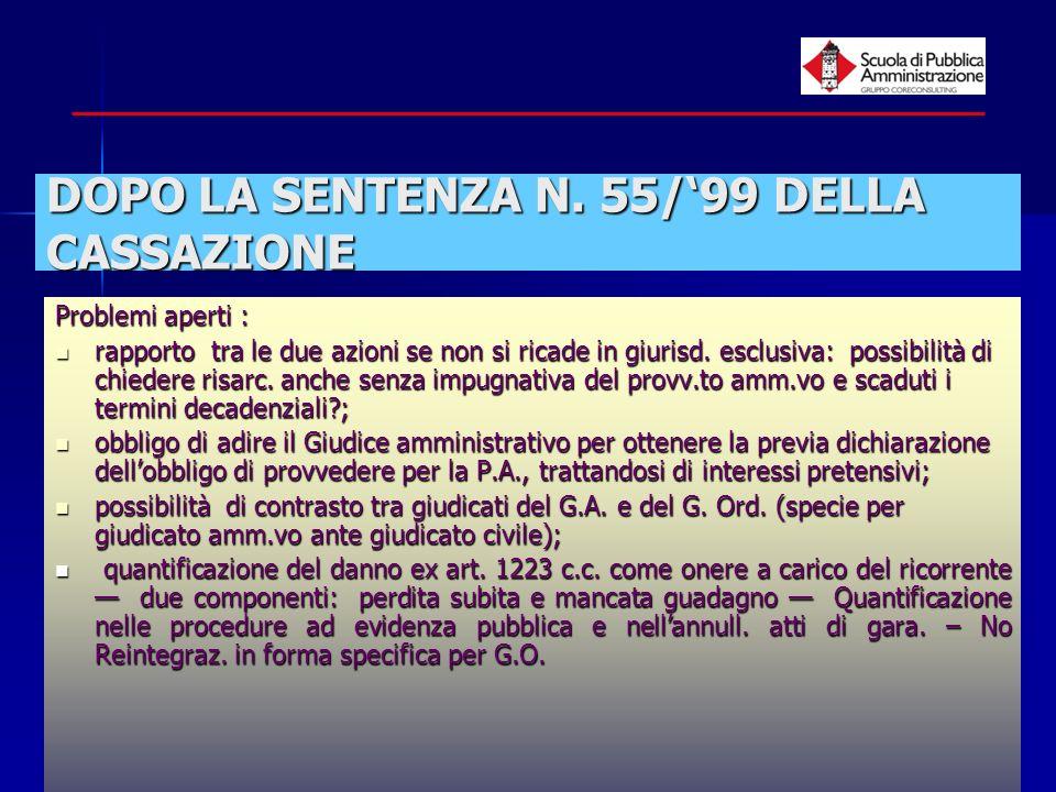 paola minetti - 200511 DOPO LA SENTENZA N. 55/99 DELLA CASSAZIONE Problemi aperti : rapporto tra le due azioni se non si ricade in giurisd. esclusiva: