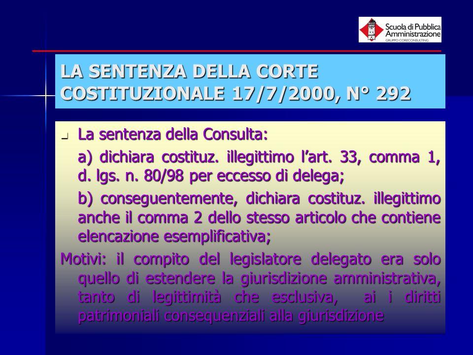 paola minetti - 200512 LA SENTENZA DELLA CORTE COSTITUZIONALE 17/7/2000, N° 292 La sentenza della Consulta: La sentenza della Consulta: a) dichiara co