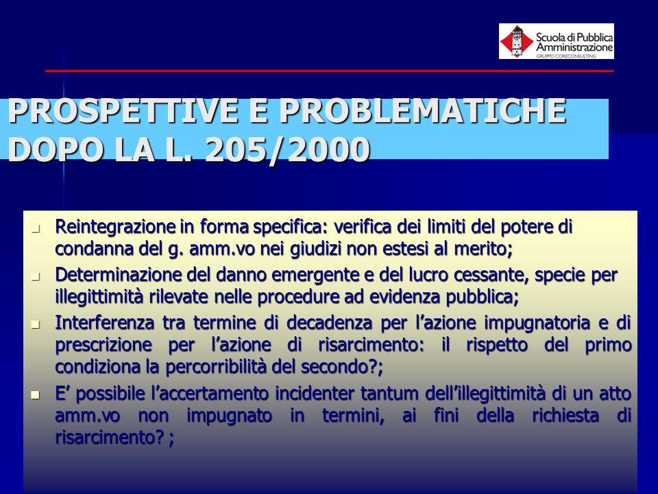 paola minetti - 200515 PROSPETTIVE E PROBLEMATICHE DOPO LA L. 205/2000 Reintegrazione in forma specifica: verifica dei limiti del potere di condanna d
