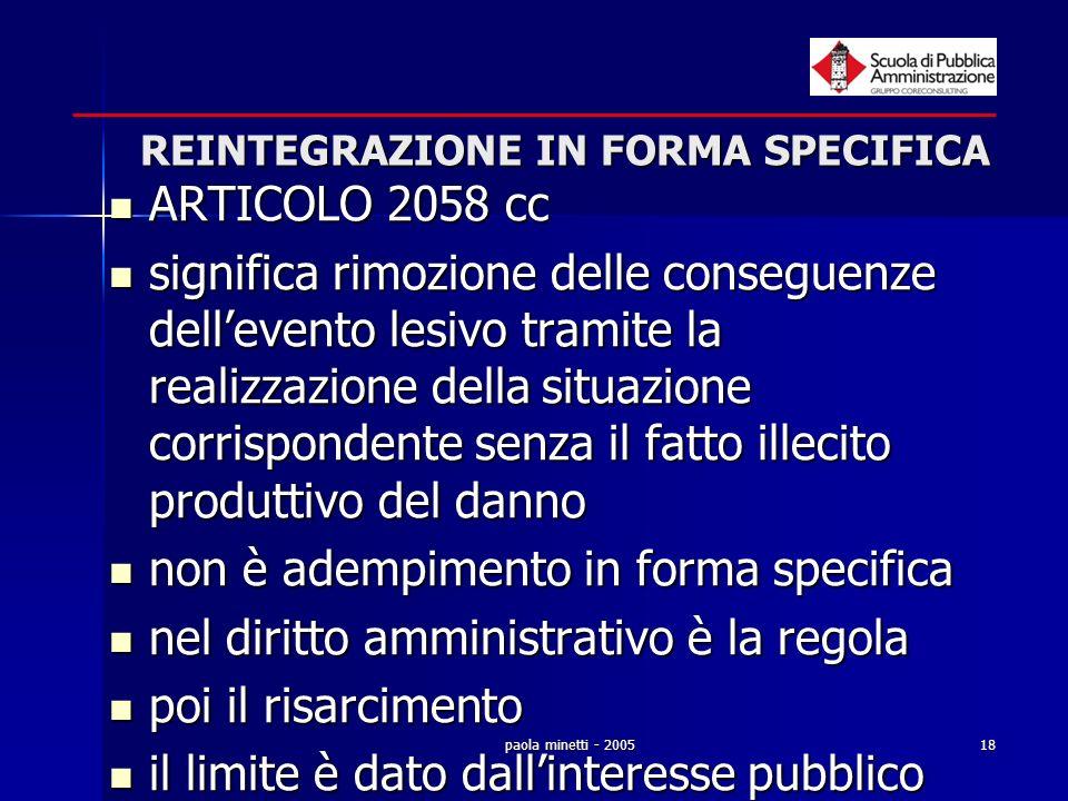 paola minetti - 200518 REINTEGRAZIONE IN FORMA SPECIFICA ARTICOLO 2058 cc ARTICOLO 2058 cc significa rimozione delle conseguenze dellevento lesivo tra