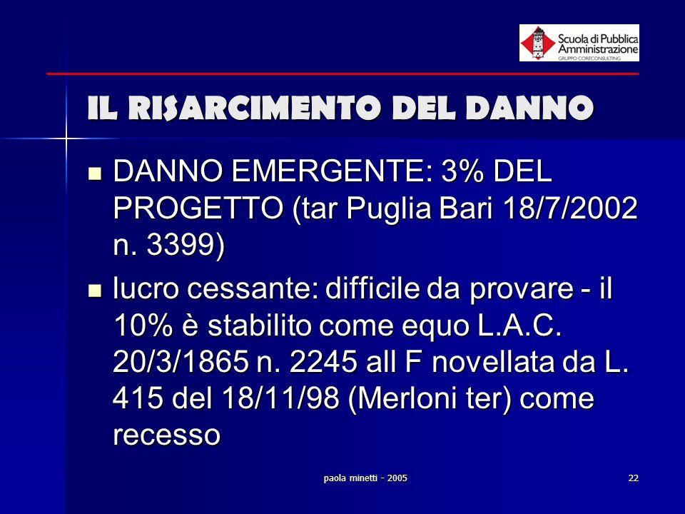 paola minetti - 200522 IL RISARCIMENTO DEL DANNO DANNO EMERGENTE: 3% DEL PROGETTO (tar Puglia Bari 18/7/2002 n. 3399) DANNO EMERGENTE: 3% DEL PROGETTO