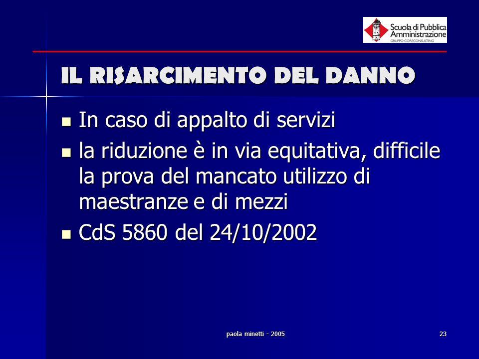 paola minetti - 200523 IL RISARCIMENTO DEL DANNO In caso di appalto di servizi In caso di appalto di servizi la riduzione è in via equitativa, diffici