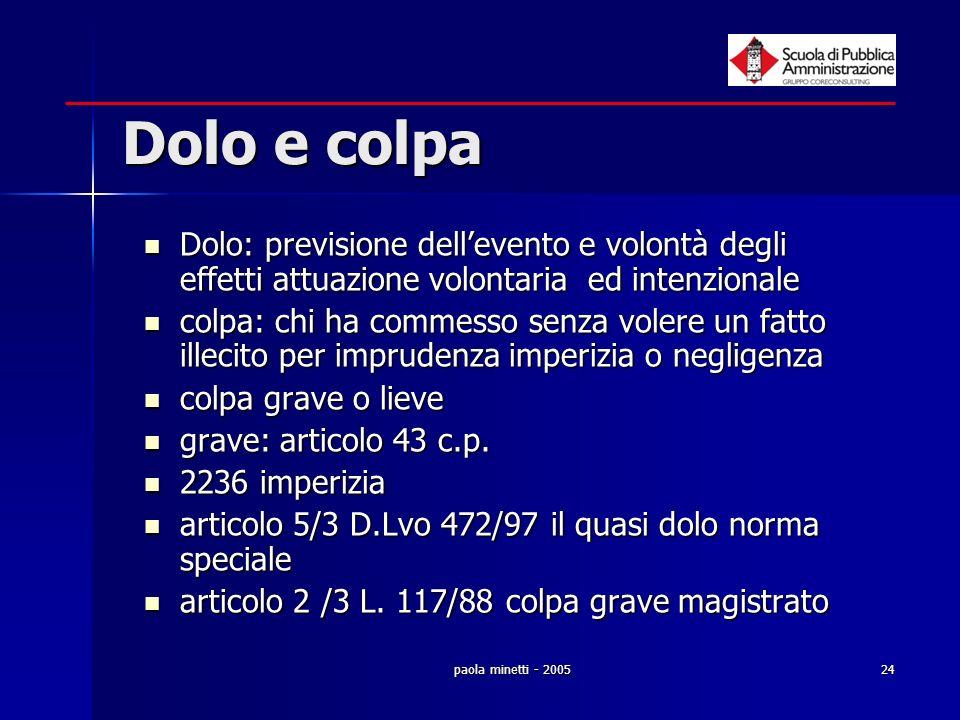 paola minetti - 200524 Dolo e colpa Dolo: previsione dellevento e volontà degli effetti attuazione volontaria ed intenzionale Dolo: previsione delleve