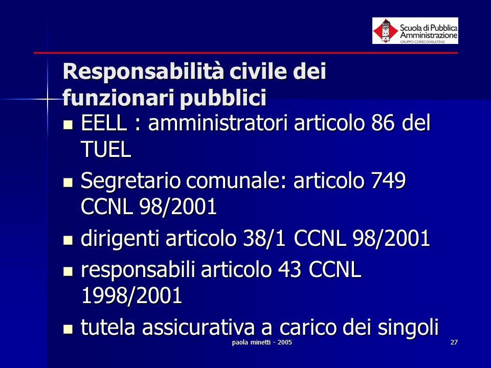 paola minetti - 200527 Responsabilità civile dei funzionari pubblici EELL : amministratori articolo 86 del TUEL EELL : amministratori articolo 86 del