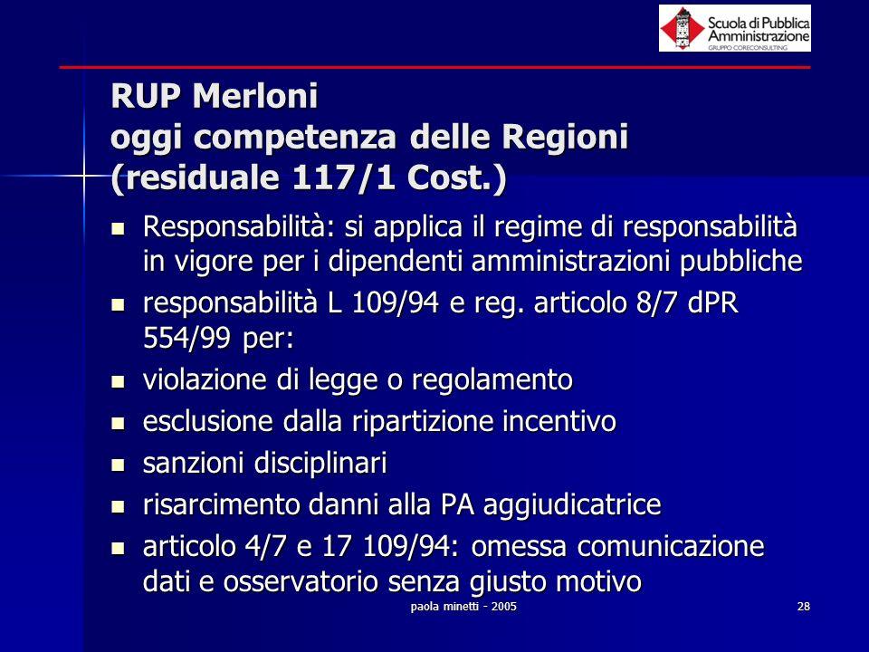 paola minetti - 200528 RUP Merloni oggi competenza delle Regioni (residuale 117/1 Cost.) Responsabilità: si applica il regime di responsabilità in vig