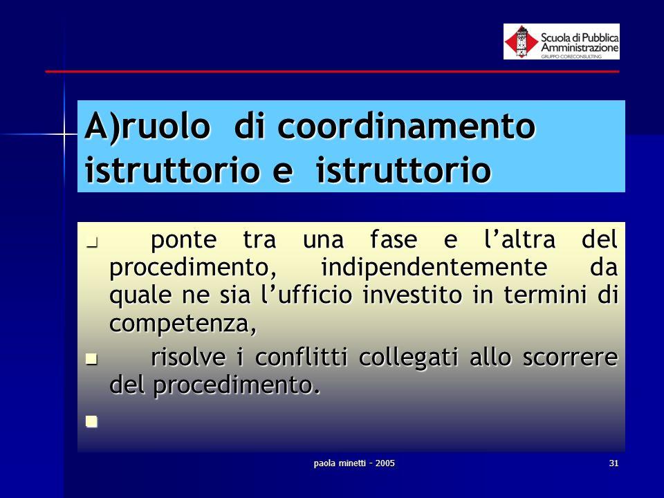 paola minetti - 200531 A)ruolo di coordinamento istruttorio e istruttorio ponte tra una fase e laltra del procedimento, indipendentemente da quale ne