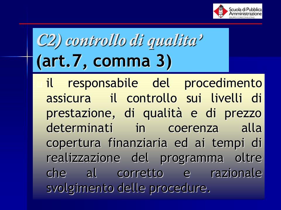paola minetti - 200535 C2) controllo di qualita (art.7, comma 3) il responsabile del procedimento assicura il controllo sui livelli di prestazione, di