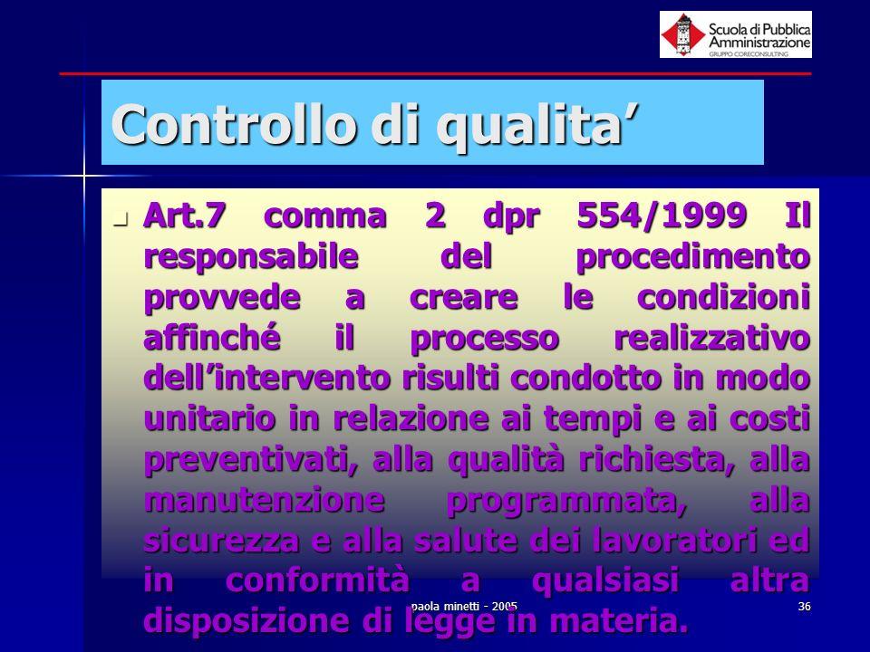 paola minetti - 200536 Controllo di qualita Art.7 comma 2 dpr 554/1999 Il responsabile del procedimento provvede a creare le condizioni affinché il pr