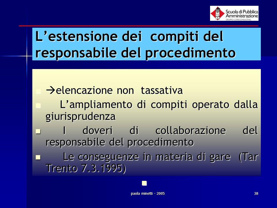 paola minetti - 200538 Lestensione dei compiti del responsabile del procedimento elencazione non tassativa elencazione non tassativa Lampliamento di c