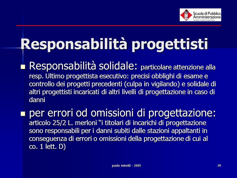 paola minetti - 200539 Responsabilità progettisti Responsabilità solidale: particolare attenzione alla resp. Ultimo progettista esecutivo: precisi obb